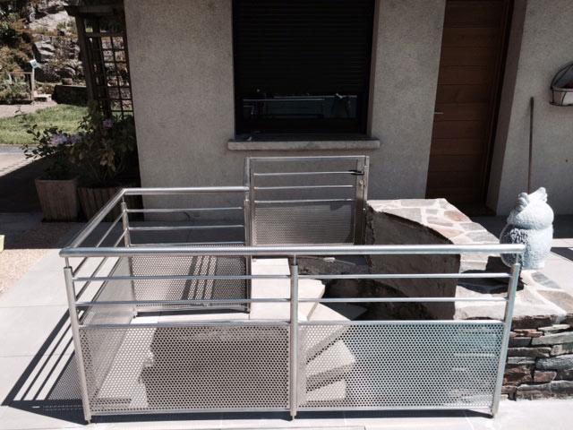 Rambarde accès escalier inox